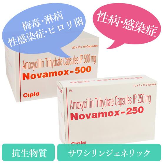 ノバモックス250mg/500mg(novamox)アモキシル(サワシリン)ジェネリック